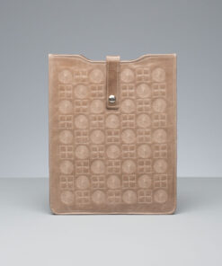 iPad sleeve - taupe small noughts and crosses